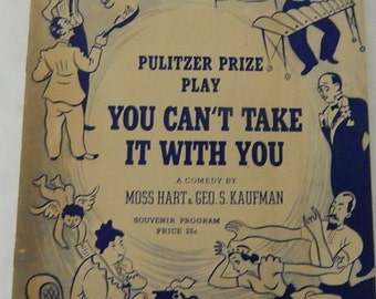 Vintage You Can't Take It With You Pulitzer Prize Winning Play Program, 1945.
