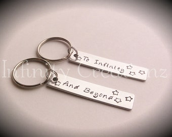 Hand stamped To Infinity and Beyond keychains