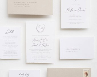 "Handmade Paper Calligraphy Invitation Suite / ""Heather"" Suite"