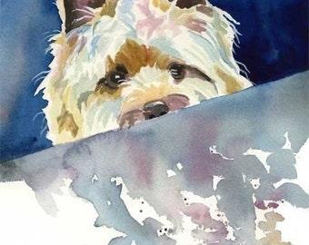 Cairn Terrier Art Print of Original Watercolor Painting 11x14