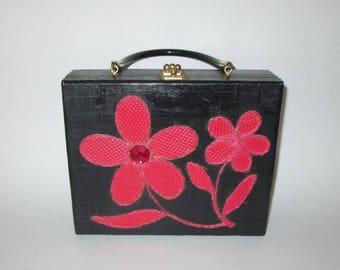 Vintage 1960s Handbag / 60s Black Box Purse Handbag With Red Flowers / 60s Box Purse With Floral Design