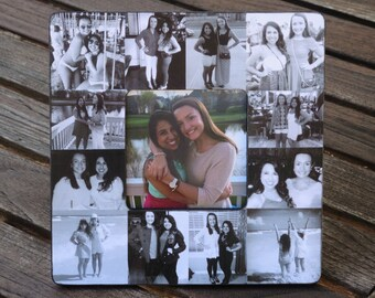 """Bridesmaid Photo Collage Frame, Unique Best Friend Gift, Custom Collage Maid of Honor Frame, Personalized Sister Gift, 8"""" x 8"""" Frame"""