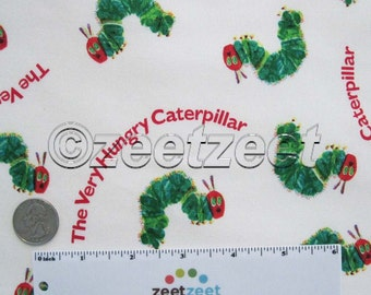 VERY HUNGRY Tossed CATERPILLAR White Red Writing Green Cotton Quilt Fabric by the Yard, Half Yard, or Fat Quarter Fq Eric Carle