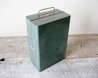 Vintage Teal Blue Metal Utility Box ~ Industrial Tool Box