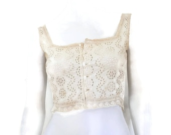 WWII French Lingerie Eyelet Cotton and Lace Camisole