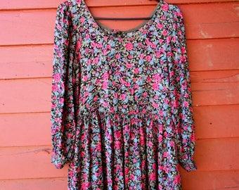 80s/90s Blue Rose Hippie Boho Spring Summer Princess Sleeve Rayon Komil Dress S M