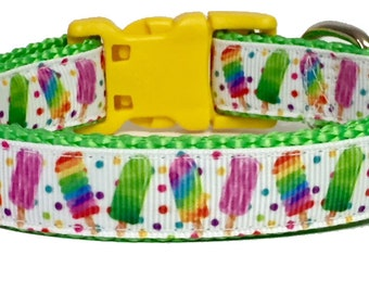 Popscicle - Dog Collar - Ice Cream - Neon - Pet - Gift - Summer - Bbq - Holiday - Puppy - Handmade -