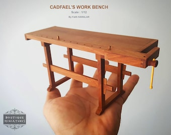 Miniature Cadfael's Work  Bench, Carpenter Table, Dollhouse, Furniture, Scale : 1/12
