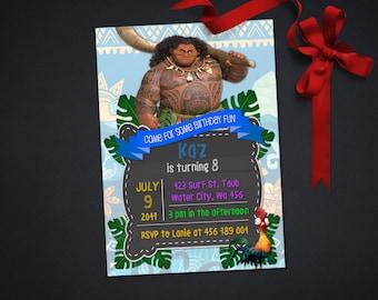 Personalized Maui Moana Birthday Party Invitation Invite Printable Tropical Tribal DIY - Digital File