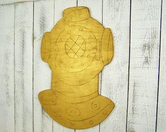 Scuba Diving Helmet Mask Scuba Diver Decor Gift Deep Sea Diver Art Nautical Wall Decor Steampunk Decor Steampunk Wall Art Coastal Decor Gold