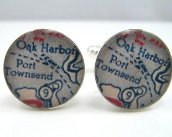 Vintage map cufflinks - Oak Harbor and Port Townsend, Washington - 1950s map - silver-plated round cuff links