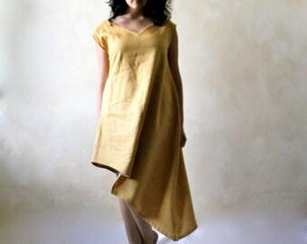Linen dress, linen tunic, tunic dress, yellow dress, pixie dress, asymmetrical dress, boho bridesmaids dress, sundress, short sleeve dress