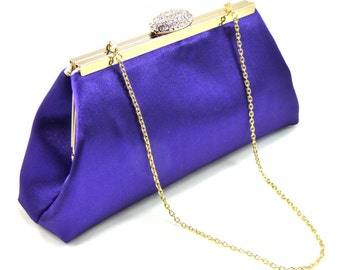 Regal Purple And Gold Flake Bridal Clutch, Personalized Wedding Clutch, Mother of the Bride Gift, Custom Bridesmaid Gift Clutch