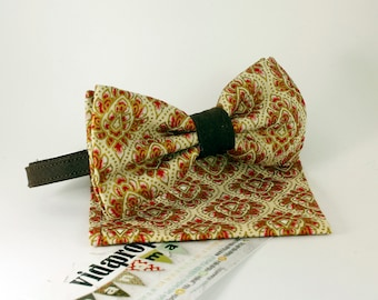 Batik Beige bow tie with scarf