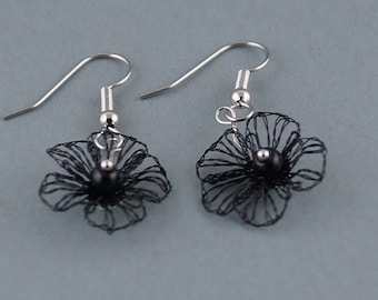 Earrings black, earrings flowers, wire earring, bobbin jewelry gift for women, small gift, gotic earrings,