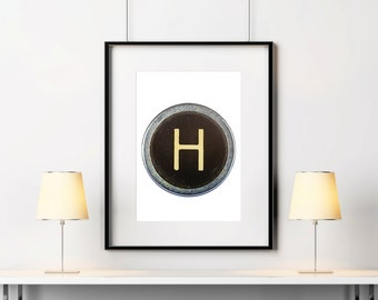 Vintage Typewriter Key Art - Minimalist Art - Minimalist Decor - Office Art - Office Decor - Office Artwork - Home Office Art (S-387)