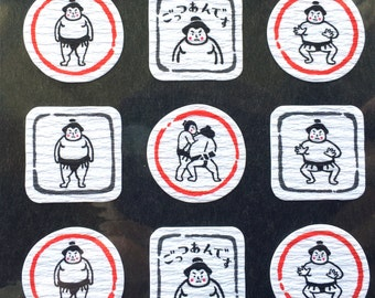 Japanese Chiyogami Stickers - Sumo Stickers -  Traditional Japanese Stickers  S128