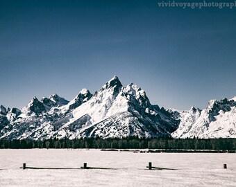 Mountain Landscape, Winter Photography, Grand Teton Photo, Western Decor, Rustic Photograph, Art For Men, Snow Photo, Wyoming Photography