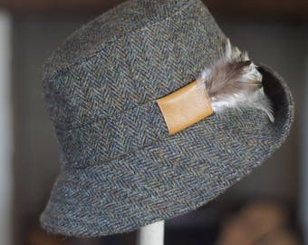 Green Herringbone Harris Tweed Country Hat