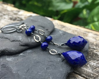 Lapis Lazuli Long Dangle Earrings - Dark Oxidized Sterling Silver - Natural Gem Stone - Handmade Artisan Jewelry - Shepherds Hook Earwires