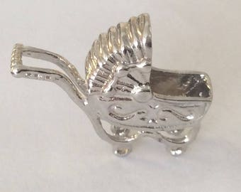 Sterling silver baby carriage walker charm vintage #620 S