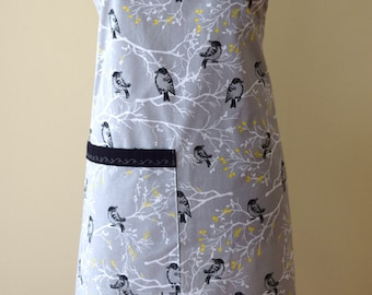 Apron Full Apron women Gray Bird print Apron Adult Apron Butcher style Apron