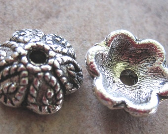 50 Antiqued Silver-Plated Pewter Bead Caps, 10x3mm Scalloped Round - JD7