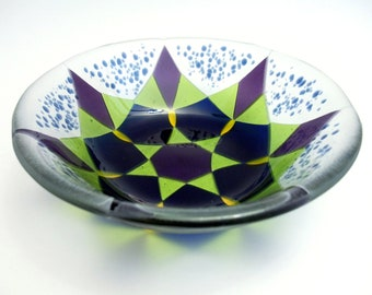 Midnight Blue, Granny Smith Apple Green and Purple Fused Glass Bowl