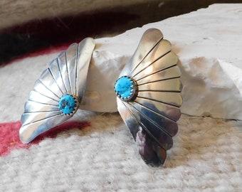 Navajo turquoise earrings sterling turquoise womens earrings native tribal Arizona southwestern jewelry western decor vintage turquoise