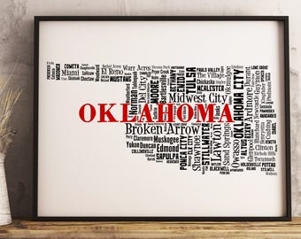 Oklahoma Map Art, Oklahoma Art Print, Oklahoma City Map, Oklahoma Typography Art, Oklahoma Wall Decor, Oklahoma Moving Gift