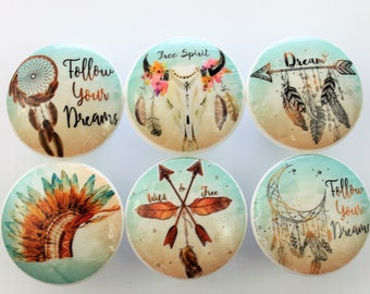 Set of 6  Free Spirit Bohemian Cabinet Knobs