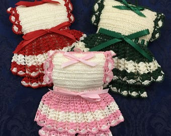 Matching Set of 3 Hand Made Pin Cushions that are Crochet Dresses with Pantaloons  M15
