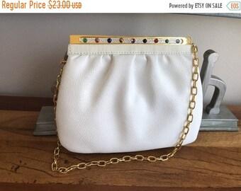 Birthday Sale Vintage White Leather Jeweled Handbag