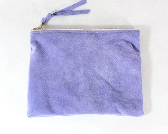 Repurposed Suede 8 Inch Everyday Zipper Pouch / Lavender