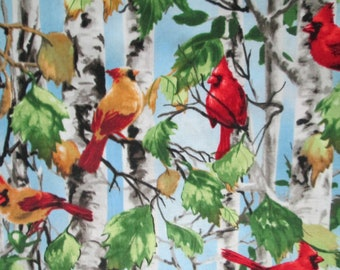 Birds Realistic Cardinals More Trees White Cotton Fabric Fat Quarter or Custom