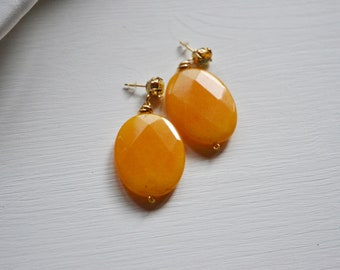 Spring yellow earrings, big yellow mustard pendants, women's jewellery for Ceriomonie and festivities, gift idea for graduation or birthday