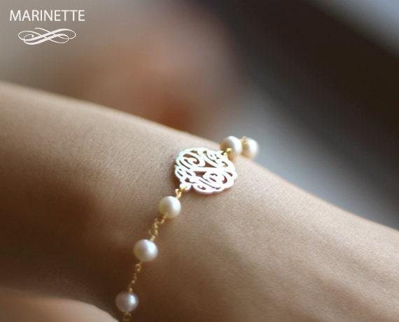 Gold pearl monogram bracelet - Personalized Monogram bracelet