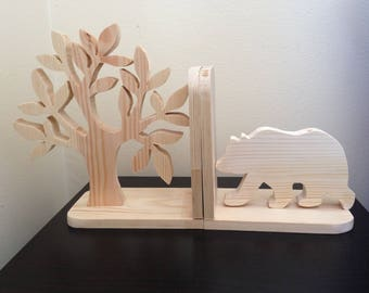 Natural Pine Wild Bear and Tree Bookend - Kids Wood Bookend Nursery Children