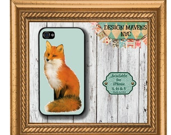 Cute Fox iPhone Case, Gift for Her, iPhone 7 Fox Case, Aqua Phone Case, iPhone 5, 5s, 5c, 4, 4s, iPhone 6, 6s, 6 Plus, SE, iPhone 7,  7 Plus