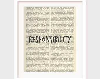 Book Page Art, Responsibility, Printable Virtues, Quotes on Dictionary Paper, Instant Downloadable