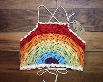 Handmade Rainbow Crop Top