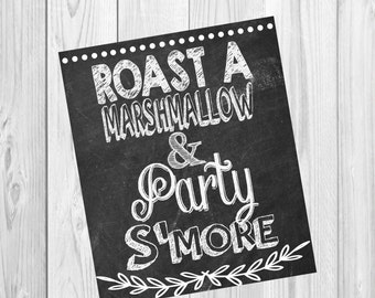Roast a marshmallow and party s'more sign, s'more sign