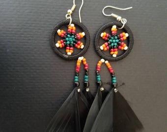 Dream catcher earrings, festival earrings, colorful earrings, beaded earrings, huichol earrings, feather earrings, tri