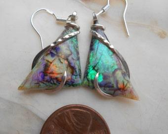 BEAUTIFUL Sterling Opal Silver Wrapped Earrings
