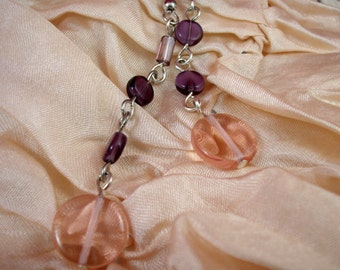 Vintage Glass Dangle Earrings in Pink and Purple