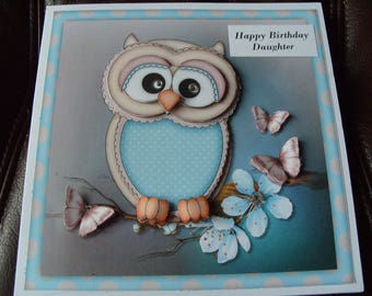 Handmade Personalised Owl  Birthday Card