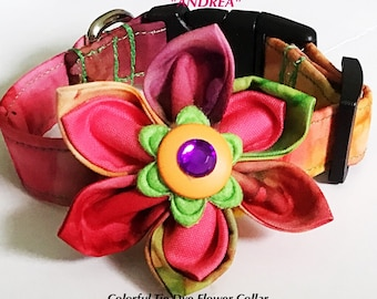 Colorful Tie Dye Flower Collar for Girl Dogs & Cats
