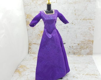 Barbie Deep Purple Gown Square Neckline  fashions Outfit 11 inch doll