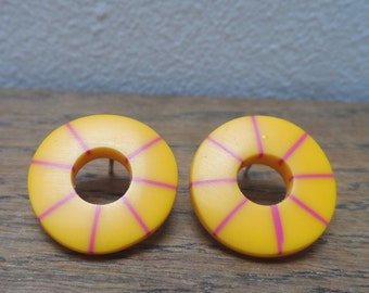 Yellow hoops with cerise stripes - don't match studs