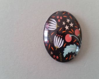 Cabochon - 30 * 40 mm - Floral - flower - Tulip - multicolored